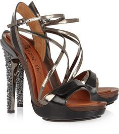 fea6a34f82b3c5 Lanvin Opanca crystal-embellished leather sandals Strappy Sandals