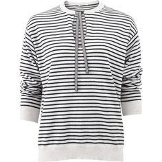 Brunello Cucinelli Stripe Keyhole Pullover Top ($1,775) ❤ liked on Polyvore featuring tops, sweaters, striped sweater, stripe sweater, white long sleeve sweater, white pullover and ribbed sweater