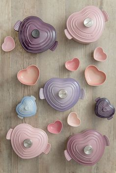 Le Creuset Light Bluebell Purple Cast Iron Heart Buffet :: love the pink pieces Cute Kitchen, Kitchen Items, Kitchen Utensils, Kitchen Gadgets, Kitchen Decor, Kitchen Appliances, Cooking Gadgets, Kitchen Stuff, Deco Pastel