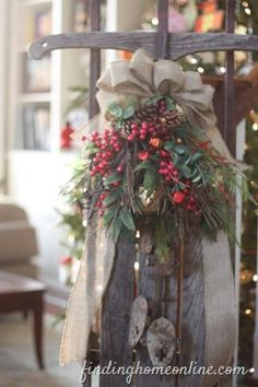 Vintage Christmas Sled - I have a vintage sled. I may have to copy this! I love the way they added the berries and greenery. Christmas Sled, Primitive Christmas, Country Christmas, Outdoor Christmas, All Things Christmas, Winter Christmas, Vintage Christmas, Christmas Holidays, Christmas Wreaths