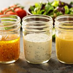 3 recipes for low-calorie salad dressings - Soßen - Salat Rezepte Low Calorie Salad, No Calorie Foods, Low Calorie Recipes, Vinaigrette Dressing, Salad Dressing Recipes, Salad Recipes, Types Of Salad Dressing, Low Carb Salad Dressing, Syrup Recipes