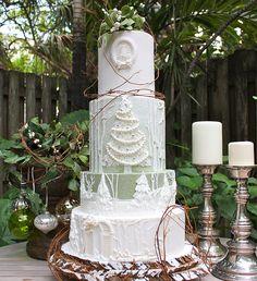 Rapid City SD Christmas Winter Wonderland Wedding Cake