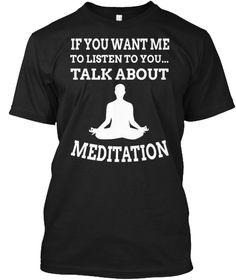 Talk About   Meditation Black T-Shirt Front