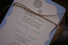 Destination Wedding Invitation: Sandollar Scalloped Frame Die Cut Destination Wedding Invitation. $3.00, via Etsy.