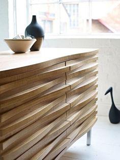 Commode - bois brut - design by Conran Wave Sideboard Sideboard Modern, Sideboard Cabinet, Credenza, Modern Buffet, Walnut Sideboard, Sideboard Furniture, Refurbished Furniture, Upcycled Furniture, Retro Furniture
