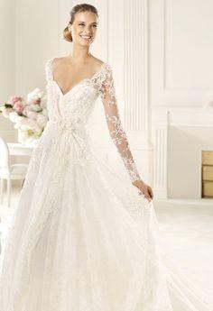 7ca93927412e Natural Waist A-line Brush Train Lace V-neck Wedding Dress V Neck Wedding