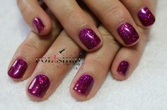 CND SHELLAC TANGO PASSION AND LECENTE DARKEST PINK HOLOGRAPHIC GLITTER