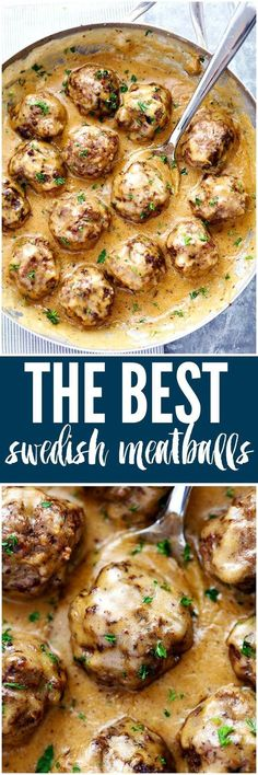 Making this for dinner! The Best Swedish Meatballs are smothered in the most amazing rich and creamy gravy. The meatballs are packed with such delicious flavor you will agree these are the BEST you have ever had! Meatball Recipes, Meat Recipes, Cooker Recipes, Dinner Recipes, Healthy Recipes, Dinner Ideas, Hamburger Recipes, Oven Recipes, Sausages
