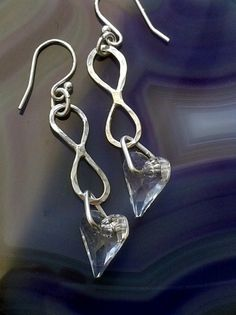 Sterling Silver Infinity Earrings with Crystal Hearts, E94 £18.00