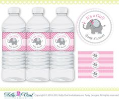 Pink Grey Girl Elephant Baby Shower Water by adlyowlinvitations, $5.00