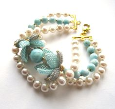 Charming combination of freshwater pearls, natural stones and Japanese beads. High quality accessories. Size: 19 cm.