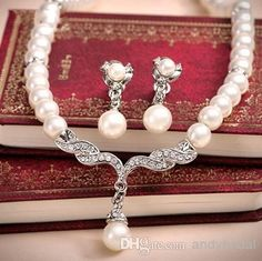 Wholesale Necklace - Buy Cheap Bridal Necklace And Earring Pearls Rhinestones Crystals Tow Pieces Accessories Bridal Jewelry for Wedding/Evening/Formal/Prom Dresses, $9.43 | DHgate