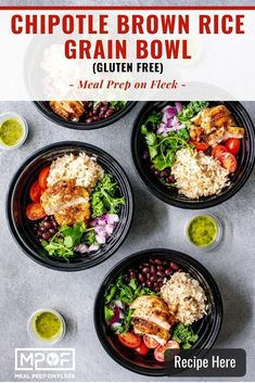Chipotle Brown Rice Grain Bowl - Meal Prep on Fleek™ Grain Bowl, Rice Grain, Meal Prep Containers, Meal Prep Bowls, Lunch Recipes, Healthy Dinner Recipes, Free Recipes, Brown Rice Recipes, Cooking