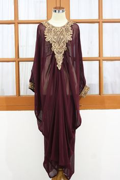 MOROCCAN Red maroon kaftan Dubai style gold embroidery maxi dress farasha jalabiya. $48.88, via Etsy.