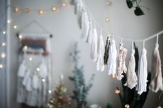 urban outfitters tassel banner and twinkle lights