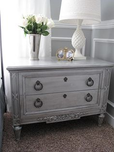 Metallic paint with antique glaze (table makeover                                                                                                                                                                                 More