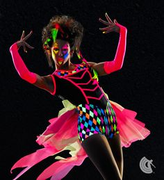 Curtain Call Costumes® - Geometric Force Printed poly/spandex and nylon/spandex boy short leotard with binding trim and attached tricot back bustle. https://curtaincallcostumes.com/products/product-page-t.php?prodid=7657
