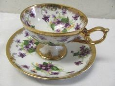 Purple Violets Flower Printed China Tea Cup and Saucer