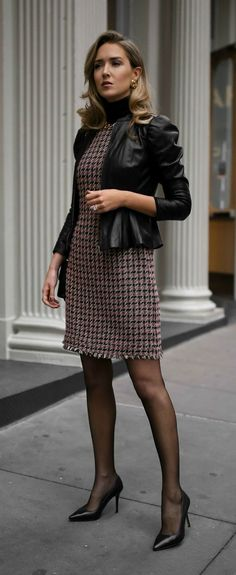 Tweed fit-and-flare houndstooth dress, black layering turtleneck, black leather victorian peplum jacket, sheer tights, classic black pumps and a black leather crossbody bag {Brooks Brothers, Manolo Blahnik, Gucci, fall fashion, wear to work, office style,