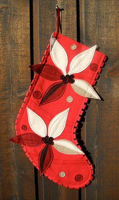 Beautiful modern felt stocking from Ahna Holder on Etsy.