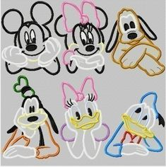 Mister Mouse and friends SIX Design SET, Machine Applique Embroidery Designs, multiple sizes, including 4 inch