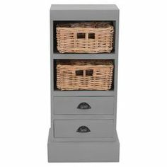 """Stow entertainment accessories in the den or craft supplies in the study with this charming 2-drawer mahogany wood cabinet, featuring 2 woven storage baskets and a lovely grey finish.   Product: CabinetConstruction Material: MahoganyColor: GreyFeatures:  Two drawers Two baskets Made in Indonesia  Dimensions: 35"""" H x 15"""" W x 10"""" D"""