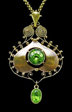 Art Nouveau Peridot and Gold Pendant (c.1900) by Murrle Bennett & Co., Germany