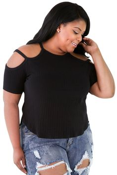 Solid Black Ribbed Stretchy Fit Full-figured Top