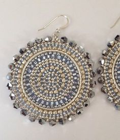 Silver Crystal Goddess Seed Bead Earrings  Beaded by WorkofHeart