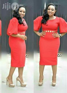 Turkey Red Puffy Hand Gown for sale in Isolo Latest African Fashion Dresses, African Print Fashion, Women's Fashion Dresses, Office Dresses For Women, Office Outfits Women, Clothes For Women, African Attire, African Dress, Classy Work Outfits