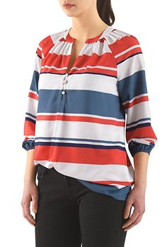 06bafe64768d2 eShakti Women s Split neck stripe print crepe tunic UK Size 26W   Short  height White coral blue  Amazon.co.uk  Clothing
