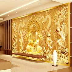 Free Shipping 3d Mural Wallpaper Entrance Living Room Bedroom TV Background  Wallpaper Golden Buddha Guanyin Custom Sizes In Wallpapers From Home  Improvement ...