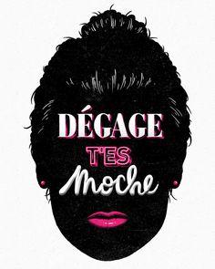 Dégage t'es moche  #typography #head #pink