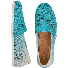 TOMS Baltic Dip Dyed Crochet Shoes ($39) ❤ liked on Polyvore featuring shoes, toms, crochet footwear, toms shoes, dip dye shoes, toms footwear and macrame shoes