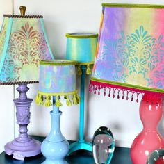 Boho lampshade makeovers with thrift-score lamps & a Gel Press