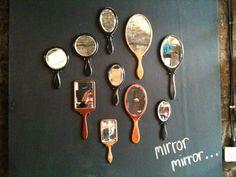 cute display, vintage vanity mirrors