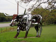 marathon or robo-cow as dubbed by roadside wonders  visit the sculpture and the preserve at walnut springs in johnson city texas