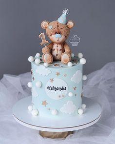 Teddy Bear Birthday Cake, Baby Boy 1st Birthday Party, Baby Birthday Cakes, Captain America Birthday Cake, Cake Designs For Kids, Cake Models, Panda Cakes, Beautiful Birthday Cakes, Baby Shower Cakes