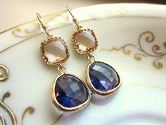 Champagne Peach Earrings Tanzanite Purple Earrings Gold - Bridesmaid Earrings - Christmas Gift - Wedding Earrings. $32.00, via Etsy.
