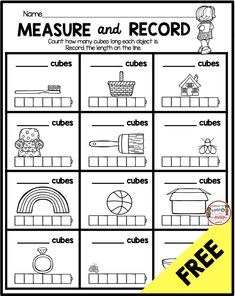 FREE Measurement and Data Kindergarten math worksheet - complete common core curriculum - measure and record with blocks - easy math center Measurement Kindergarten, Measurement Worksheets, Kindergarten Math Worksheets, 1st Grade Worksheets, Science Worksheets, Preschool Math, Teaching Kindergarten, Measurement Games, Geography Worksheets