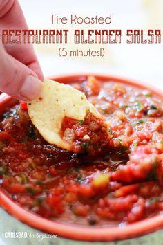 Fire Roasted Restaurant Blender Salsa (5 Minutes!)   http://www.carlsbadcravings.com/fire-roasted-restaurant-blender-salsa-5-minutes/