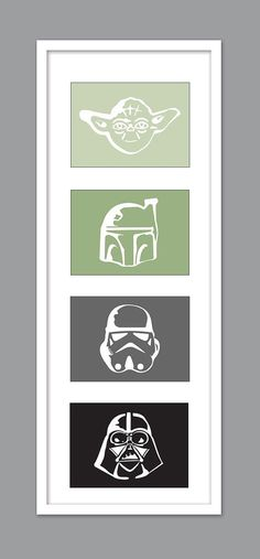 4 Star Wars Character Silhouettes for Nursery/Boys Nursery/Darth Vader/Yoda/Stormtrooper - Set of 4 - 5x7s. Thomas' room.