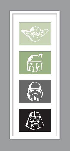 4 Star Wars Character Silhouettes for Nursery/Boys Nursery/Darth Vader/Yoda/Stormtrooper - Set of 4 - 5x7s. Thomas' room.