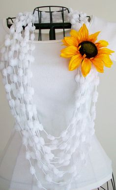 White Infinity Scarf Necklace Sunflower Boho by BlueStockinette, $16.00
