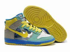 best service 09c1e 88686 Chaussures Nike Dunk High Bleu Vert Blanc Jaune Gris nike11827