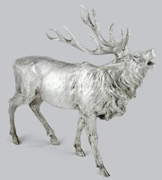A LARGE SILVER MODEL OF A STAG, CIRCA 1900, WITH DETACHABLE HEAD.