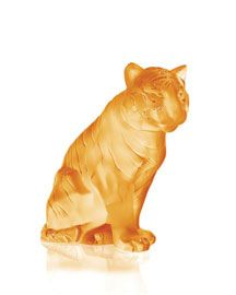 Lalique Amber Sitting Tiger Figurine