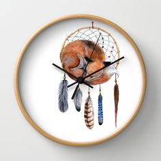 Fox Dreamcatcher Wall Clock by Goosi | Society6