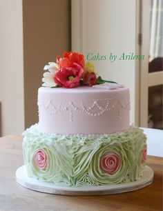 Parrot Tulip And Ruffle Wedding Cake Wedding Cake Roses, Wedding Cakes With Flowers, Rose Wedding, Beautiful Cakes, Amazing Cakes, Ruffle Cake, Ruffles, Parrot Tulips, Bridal Shower Cakes