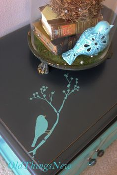 Turquoise Bedside Table